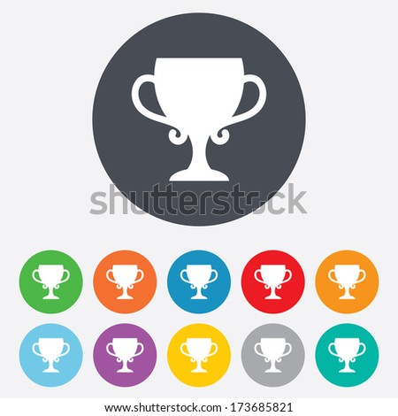 Winner cup sign icon. Awarding of winners symbol. Trophy. Round colourful 11 buttons.