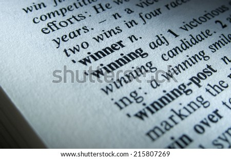 Winner dictionary definition closeup