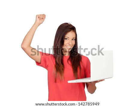 Winner girl with a laptop isolated on a white background - stock photo