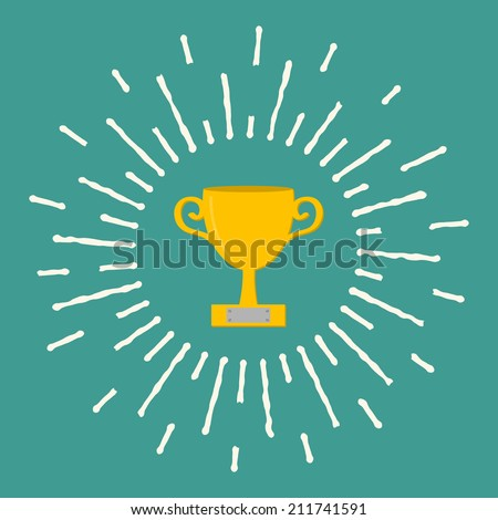 Winner gold cup trophy. Award symbol in flat design style. White ray of lights.