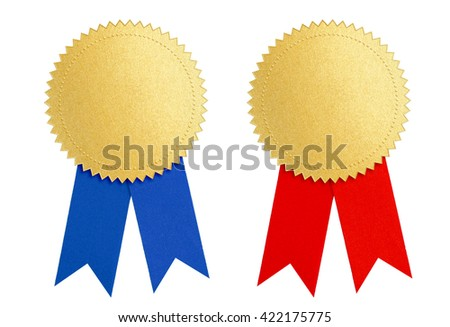 winner gold seal medal award with blue and red ribbon  - stock photo