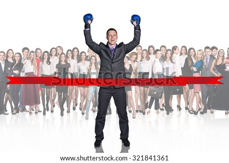 Winner in center over business people background