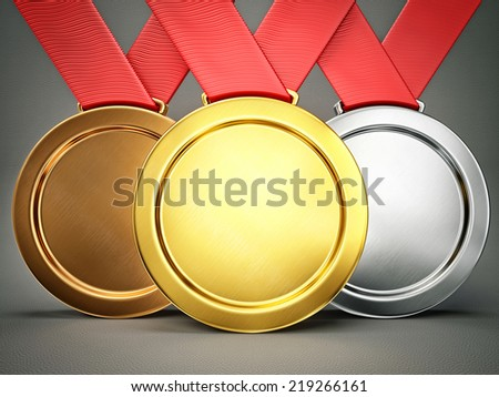 winner medals isolated on a grey background - stock photo