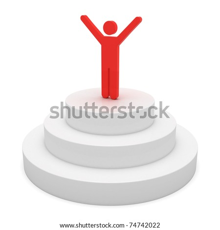 Winner on a podium - stock photo
