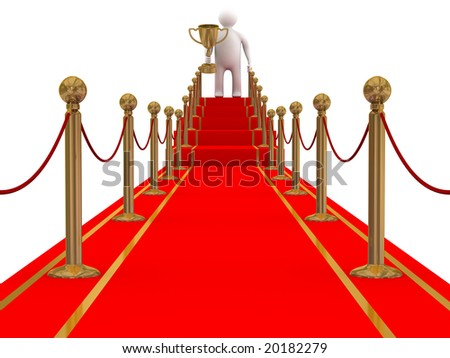 winner on a red carpet path. 3D image