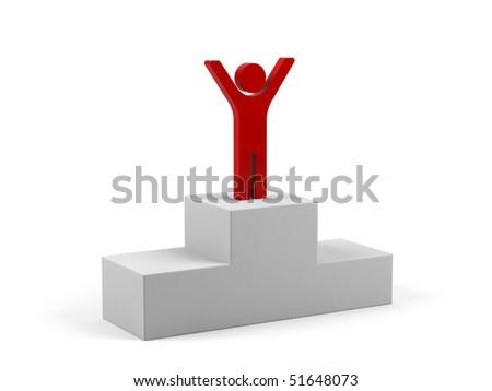 Winner on the podium. - stock photo