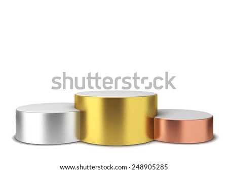 Winner podium. 3d illustration isolated on white background  - stock photo