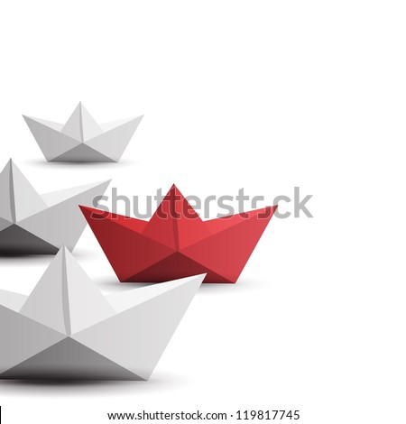 winner red paper ship - stock photo