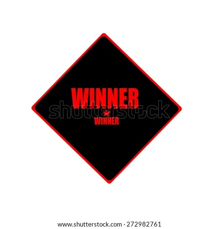 WINNER red stamp text on black background - stock photo