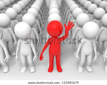 Winner/special people among crowd of white  fellows - stock photo