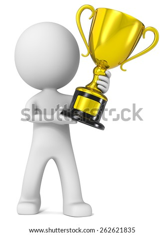 Winner. The dude 3D character holding Gold Trophy. - stock photo