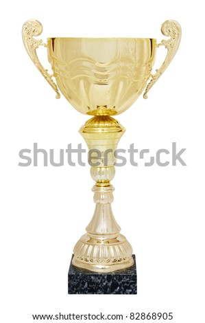 winner trophy isolated on a white background with clipping path - stock photo