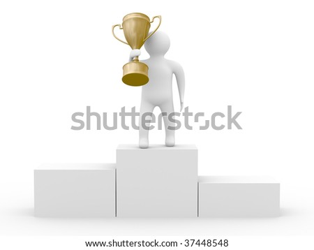 winner with gold cup on white background. Isolated 3D image - stock photo