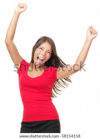 Winner woman celebrating success Isolated on white background. - stock photo