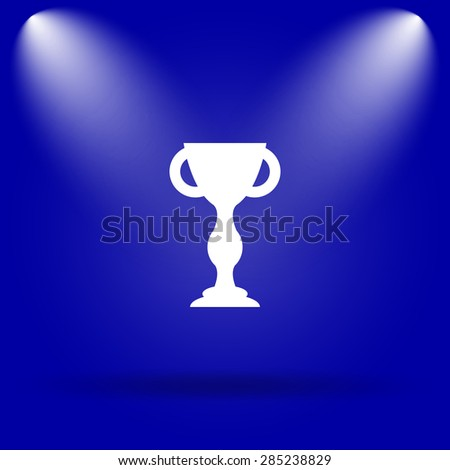 Winners cup icon. Flat icon on blue background.