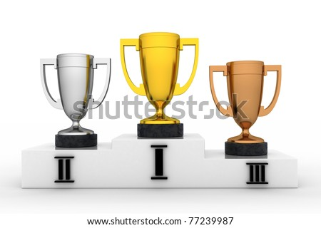 Winners cup in white background (done in 3d, isolated) - stock photo