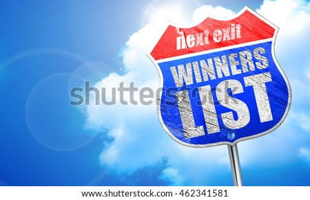 winners list, 3D rendering, blue street sign