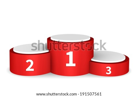 Winners podium - empty podium isolated on white background - stock photo