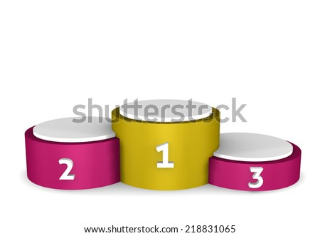 Winners podium - empty podium isolated on white background