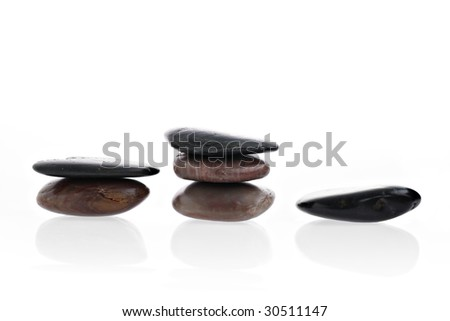 Winners podium made of stacked spa stones isolated on white with reflection