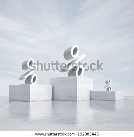 winners podium with percentage signs - stock photo
