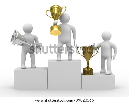 winners with cups on white background. Isolated 3D image - stock photo