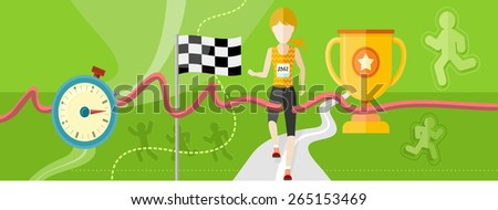 Winning athlete female crosses the finish line. Athletic woman running on track. Concept with item icons in flat design. Raster version - stock photo