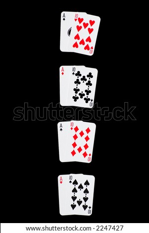 Winning Combinations in Blackjack, isolated on black, with clipping path - stock photo