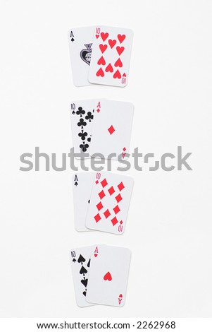 Winning Combinations in Blackjack, isolated on white - stock photo