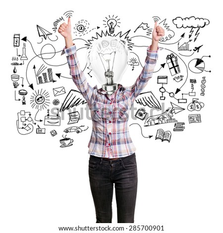 Winning concept. Lamp head girl shows well done with both hands - stock photo