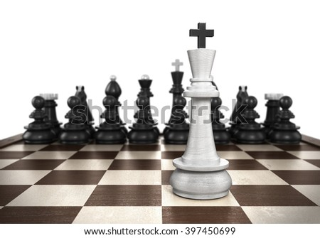 winning concept White king stands on a chessboard foreground with black chess in the background isolated on white - stock photo