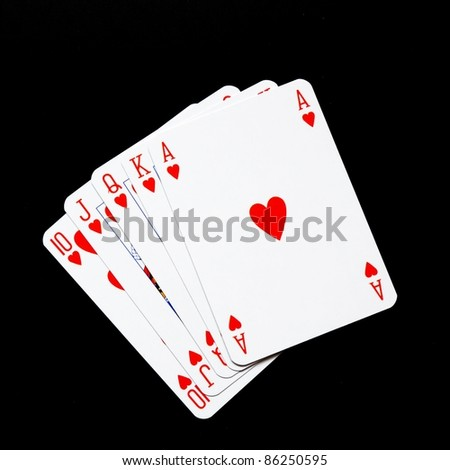 winning concept with four aces on black background - stock photo