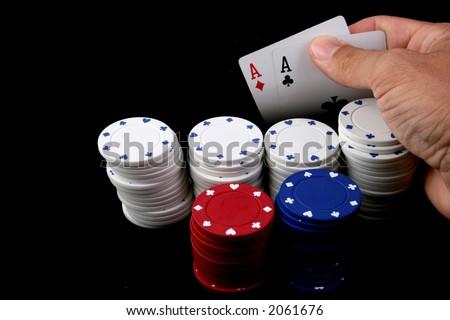 winning hand at texas hold'em poker - stock photo