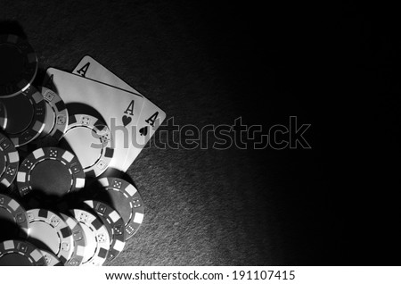winning hand in poker game - stock photo
