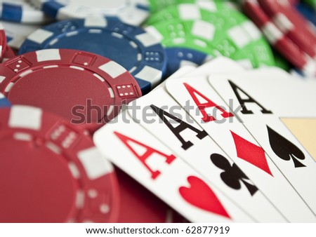 Winning hand of four aces