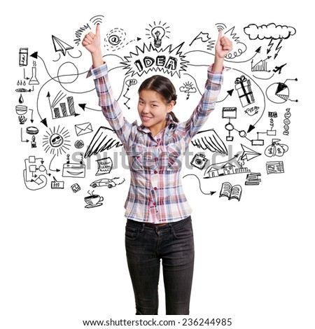 Winning idea concept. Asian girl shows well done with both hands - stock photo