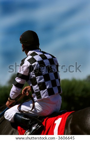 winning jockey gazing into future - stock photo