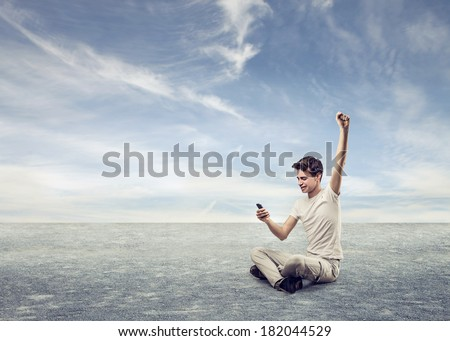 winning man - stock photo