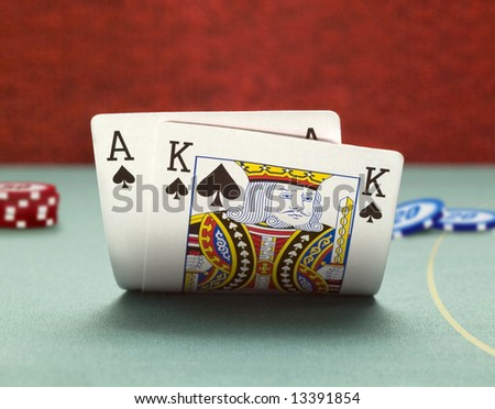 winning position blackjack - stock photo