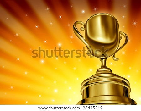Winning success gold cup award in a dynamic perspective as a golden star burst glowing background with sparkles in sports and being a champion in a competition or tournament for best business. - stock photo