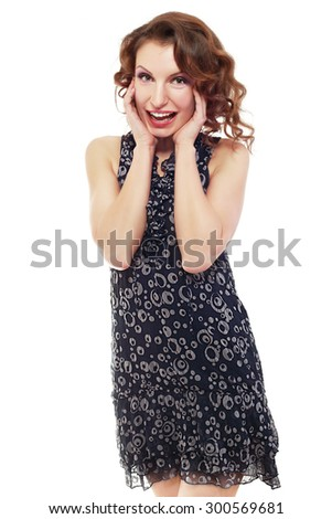 Winning success woman happy ecstatic celebrating being a winner. Dynamic energetic image of young female model isolated on white background waist up. - stock photo