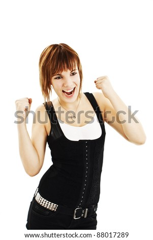 Winning success woman happy ecstatic celebrating being a winner. Isolated over white background