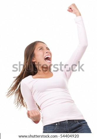 Winning success woman in full length cheering and screaming of joy. Casual young mixed race chinese / caucasian isolated on white background. - stock photo