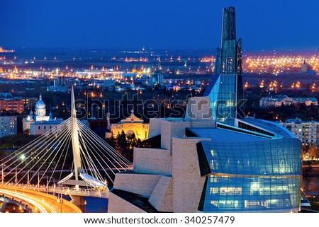 Winnipeg panorama at sunset. Winnipeg, Manitoba, Canada - stock photo