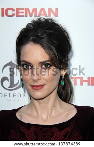 "Winona Ryder at ""The Iceman"" Red Carpet, Arclight Theater, Hollywood, CA 04-22-13 - stock photo"