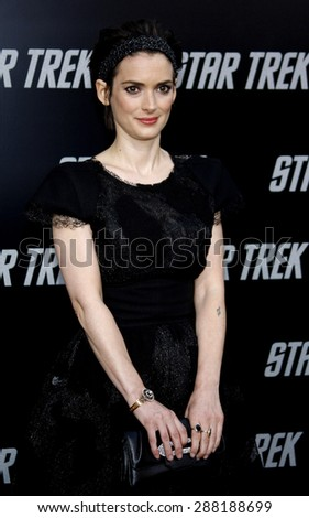 Winona Ryder at the Los Angeles premiere of 'Star Trek' held at the Grauman's Chinese Theater in Hollywood on April 30, 2009.  - stock photo