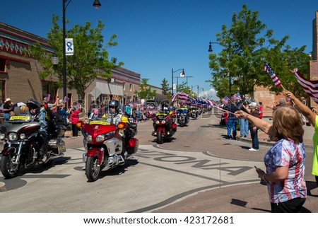 Winslow, Arizona/USAâ?? May 19, 2016: Run For The Wall, Veterans ride motorcycles from California to Washington D.C and the Arlington Cemetery.
