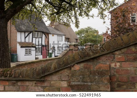 Winslow, Buckinghamshire, United Kingdom, October 25, 2016: View on Cottages on Horn street from Church street, Winslow.