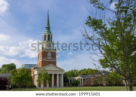 WINSTON-SALEM, NC, USA - APRIL 15: Wait Chapel at Wake Forest University (Hearn Plaza) on April 15, 2012 in Winston-Salem, NC, USA - stock photo