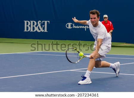 WINSTON-SALEM, NC, USA - AUGUST 18: Adrian Mannarino plays on center court at the Winston-Salem Open on August 18, 2013 in Winston-Salem, NC, USA - stock photo